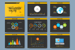 Black and yellow set of vector templates for multipurpose presentation slides. Modern business flat design with graphs Stock Photo
