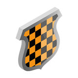Black and yellow shield icon, isometric 3d style Stock Photography