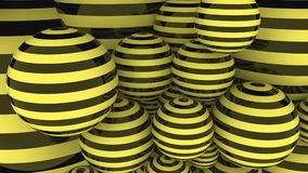Black and yellow striped balls 3D rendering. Black and yellow striped balls, 3D rendering vector illustration