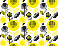 Black and yellow textured 60s floral retro pattern. Geometry decorative style vintage flower seamless motif. vector illustration Royalty Free Illustration
