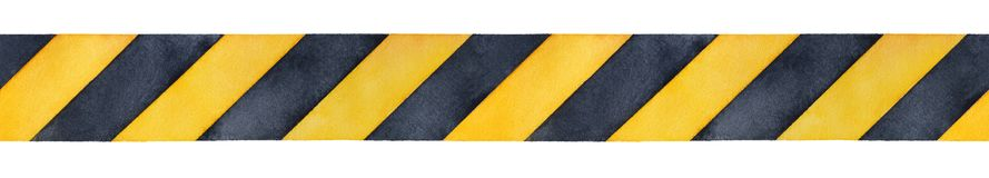 Black and yellow watercolor stripes tape. stock illustration