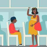 Good manners.pregnant woman in the bus.to give way to pregnant woman.tired black woman and black. Black young boy with player Royalty Free Illustration