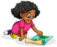A Black young girl studying Royalty Free Stock Images