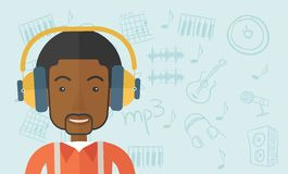 Black young guy with headphone Stock Photography