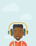 Black young guy with headphone Royalty Free Stock Photography