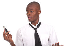 Black young man holding phone Stock Image