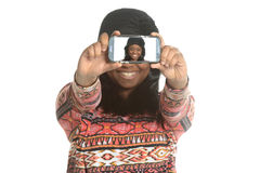 Black young woman taking a selfie Stock Images
