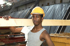 Black young worker Stock Images