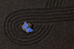 Black zen garden in the black grain sand with a blue butterfly. Zen garden with wave lines in the black grain sand with a vivid blue butterfly royalty free stock image