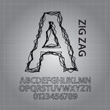 Black Zig Zag Alphabet and NUmbers Vector Stock Photo