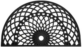 Black zig zag classic Semi Circle rubber doormat Sun rays. Isolated on a White Background royalty free illustration