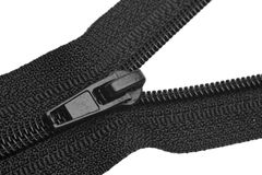 Black zipper closeup Royalty Free Stock Photography