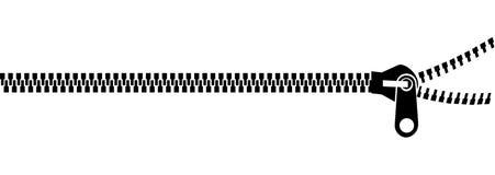 Black zipping over white Royalty Free Stock Image