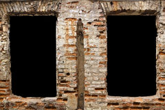 Black zones in brick wall Royalty Free Stock Photos