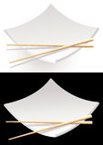 Black_and_white_sushi_plates Stock Photos