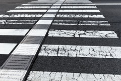 Blacka nd white crosswalk. Old black and white crosswalk stock photography