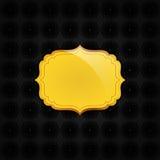 Blackabstract textur och guld- emblem Arkivbilder