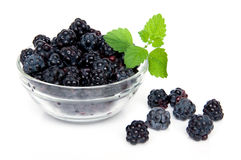 Blackberries. In glass bowl with leaves isolated on a white background Royalty Free Stock Photography