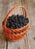 Blackberries in basket Royalty Free Stock Photography