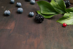 Blackberries and bilberries with leaves on the wooden table. Top view with copy space. Blackberries and bilberries with leaves on the wooden table, close up Stock Photography