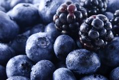 Blackberries and blueberries in a pile Stock Photos