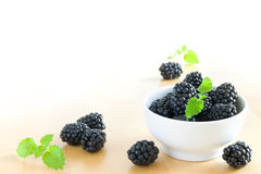 Blackberries in bowl Stock Image