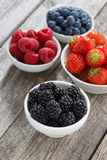 Blackberries in bowl and fresh garden berries, top view Stock Images
