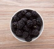 Blackberries in bowl Stock Photography