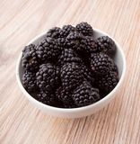 Blackberries in bowl Stock Photography