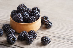 Blackberries in bowl on wooden background. Royalty Free Stock Images
