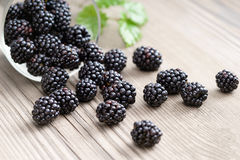 Blackberries in bowl on wooden background. Royalty Free Stock Photography