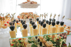 Blackberries and cheese canape Royalty Free Stock Image