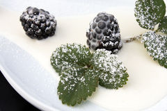 Blackberries With Cream And Icing Sugar, Closeup stock photo