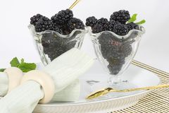Blackberries with Elegance. The plain simple blackberry becomes an elegant dessert when served with style stock photo