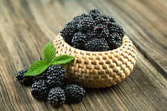 Blackberries with leaf Royalty Free Stock Photography