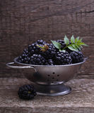 Blackberries. On the old wooden background royalty free stock photography