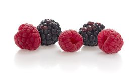 Blackberries and raspberries Royalty Free Stock Image