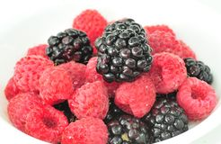 Blackberries and Raspberries Royalty Free Stock Images