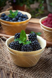 Blackberries, raspberries and blueberries in a waffle bowls. Royalty Free Stock Photography