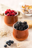 Blackberries and raspberries in ceramic pots. Close-up of blackberries and raspberries on table in kitchen. Scattered bilberries Royalty Free Stock Photo