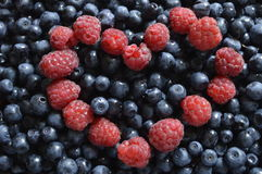 Blackberries with raspberries. Large amount of blackberries with heart of raspberries royalty free stock photo