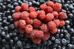 Blackberries with raspberries. Large amount of blackberries with heart of raspberries Royalty Free Stock Photo