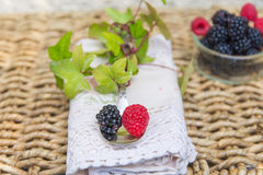 Blackberries and raspberries with spoon. Stock Photography