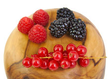 Blackberries, red currants and raspberries on a Royalty Free Stock Image