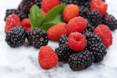 Blackberries and Red Raspberries. Freshly washed blackberries and red raspberries on marble kitchen surface royalty free stock image