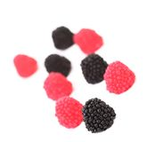 Blackberries and redberry candy. Stock Image
