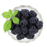 Blackberries in a saucer with green leaves Stock Photo