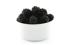 Blackberries in a Small Round Dish Royalty Free Stock Photography