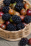Blackberries in a small wicker basket. royalty free stock images