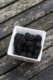 Blackberries in a square bowl. Blackberries in a square, white bowl on the garden table Stock Photos
